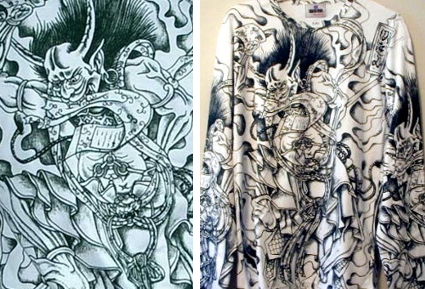 """Raijin Japanese Thunder God Tattoo"" - Black on White - Long Sleeve - Large"