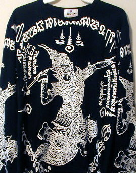 "Long Sleeve Screenprinted Shirt Featuring the Thai ""God of Thunder ..."